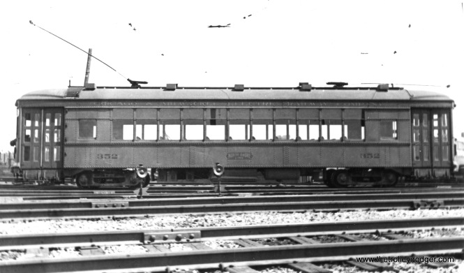 "Photo caption: ""Chicago, North Shore & Milwaukee RR 352 passenger interurban (Built Cincinnati). Only car on Mundelein branch."" Don's Rail Photos: ""352 was built by St Louis Car Co in January 1928, #1453. It was retired and scrapped in 1951."""