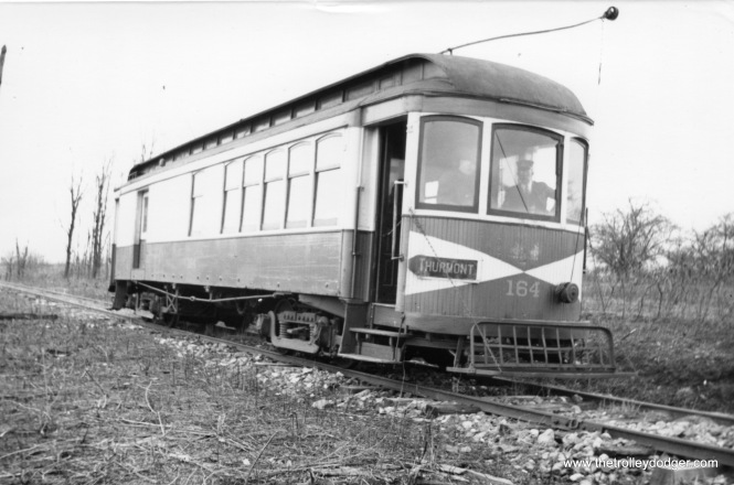 "H&F 164. Don's Rail Photos: ""164 was built by Brill in 1910 as Frederick RR 32 and scrapped in 1945."" (Railroad Record Club photo #12-101)"