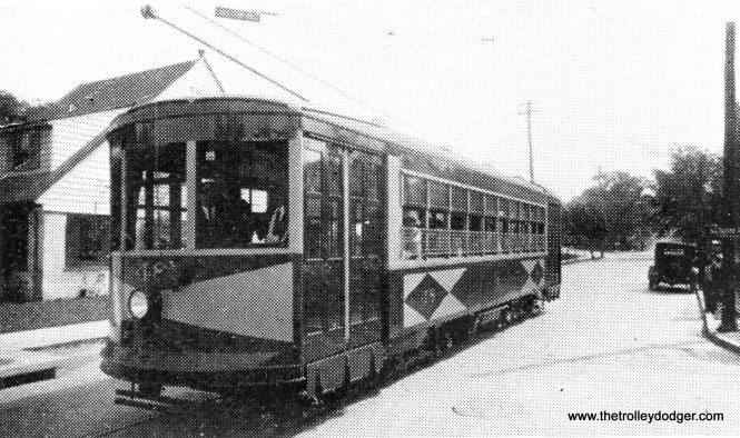 """Potomac Edison Co. Car #48 at Cumberland in 1926, on Greene Street at the Dingle intersection with Fayette Street. (Note: House on the left, at 903 Fayette Street, still existed in 1997.) Don's Rail Photos: ""48 was built by Brill in 1926. It came from the CG&W, also, since they were owned by Potomac Edison, too. It was retired in 1949 and disposition is unknown."""