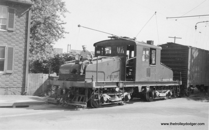 "H&F freight loco 12 in Frederick about 1947. Don's Rail Photos adds, ""12 was built by General Electric, December, 1917, #6238, as Chicago North Shore & Milwaukee 452, but was diverted to the government for use as Watervliet Arsenal E-2. It came to the H&F in 1947. Disposition is unknown."""
