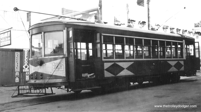 "H&F car 48 on May 18, 1941. ""Wood steel sheathed city car. Green and cream."" Don's Rail Photos adds, ""48 was built by Brill in 1926. It came from the CG&W, also, since they were owned by Potomac Edison, too. It was retired in 1949 and disposition is unknown."""