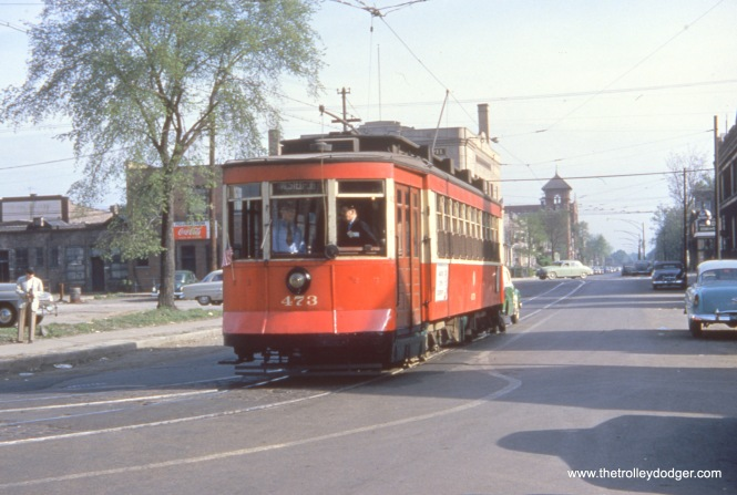 This picture of CTA 473 was also taken on the May 16, 1954 fantrip, during a photo stop at 79th Place and Emerald.