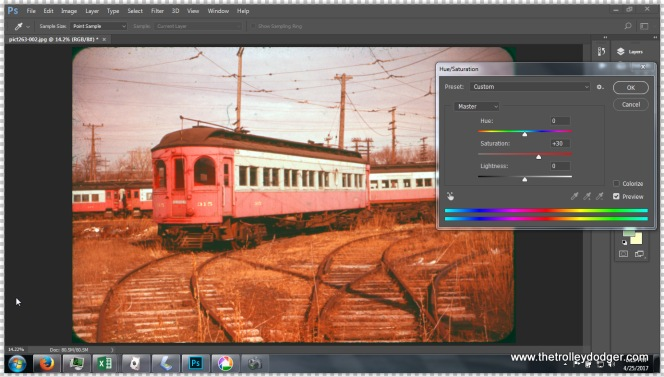Here, I am increasing the color saturation in Photoshop to make up for dye fading.