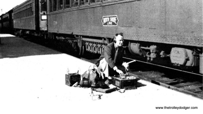 William A Steventon recording the compressor operation on North Shore car number 724 at Mundelein Station.