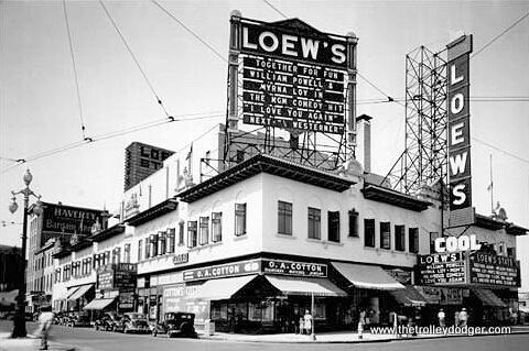 Loew's circa 1940, showing I Love You Again, an MGM comedy starring William Powell and Myrna Loy, directed by W. S. Van Dyke. All three were associated with the Thin Man series of films, which were very popular.