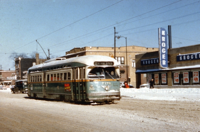 CTA PCC 7170 is heading southbound at Clark and Granville in this wintry 1950s scene. The Kroger grocery store was located at 6157 N. Clark, in a building now occupied by the Raven Theatre Company.