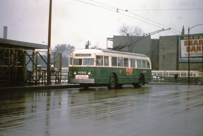 "We've run a couple pictures from this, the first Omnibus Society of America fantrip, in previous posts (Tip of the Iceberg, March 10, 2017 and Chicago Surface Lines Photos, Part Six, February 22, 2016), but this one actually provides the date, March 2, 1958. CTA trolley bus 9193 is heading south on Kedzie at the Congress (now Eisenhower) Expressway. As you can see, the entrance to the Kedzie rapid transit station is not quite finished. The line would open on June 22, 1958, replacing the old Garfield Park ""L""."