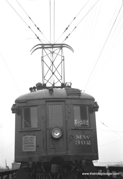 "Sacramento Northern Maintenance of Way car 302 at Mallard, California on November 29, 1953 on a Bay Area Electric Railroad Association fantrip. Don's Rail Photos says, ""1020 was built by Hall-Scott Motor Car Co in 1913, as OA&E 1020. It became SF-S 1020 in 1920 and SN 1020 in 1928. It was renumbered as MW302 in 1941 and went to Western Railway Museum in 1962."" (William R. Smith Photo)"