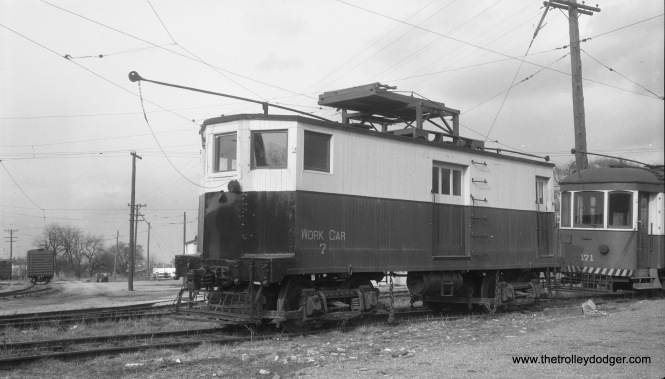 "H&F work car #7 at Frederick, Maryland, on April 11, 1954. It was built in the H&F shops in 1927 and had four Westinghouse 101B2 motors. On the other hand, Don's Rail Photos says, ""7 was acquired in 1918 from an unknown source. Other information showed it as being built in the company shop in 1927. It served double duty in the winter as a plow. The disposition is unknown."" (Gene Connelly Photo)"