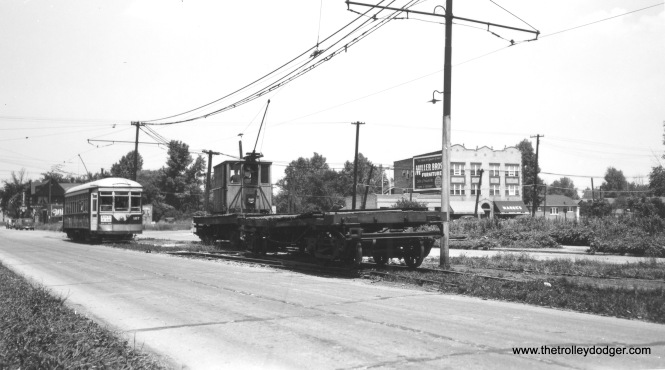 "C&WT 107 and a work car (12 or 13, hard to tell) plus a flat car on DesPlaines Avenue just south of 26th Street in Riverside. Don's Rail Photos: ""107 was built by McGuire-Cummings in 1912. It was scrapped in 1948."" (Joe L. Diaz Photo)"
