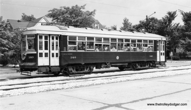 "C&WT 140 on the LaGrange line. Don's Rail Photos: ""140 was built by McGuire-Cummings in 1924. It was rebuilt in 1939 and scrapped in 1948."" (Joe L. Diaz Photo)"