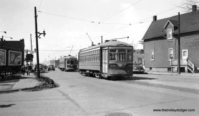 "C&WT 136 and 132 are eastbound on one of the lines that terminated at Austin Boulevard (either Lake or Madison). (Joe L. Diaz Photo) Joe writes: ""The photo of C&WT cars 132 and 136 may have been taken at Lake and 25th, the west end of the Lake Street line."" Andre Kristopans: ""CWT 132, 136 at west end of Lake St line at 25th Ave."""
