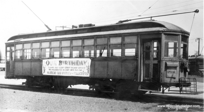 Gary Railways 101. The sign says street railway service in Gary was inaugurated 21 years ago with this car. If service began in 1912, that would date this photo to 1933.