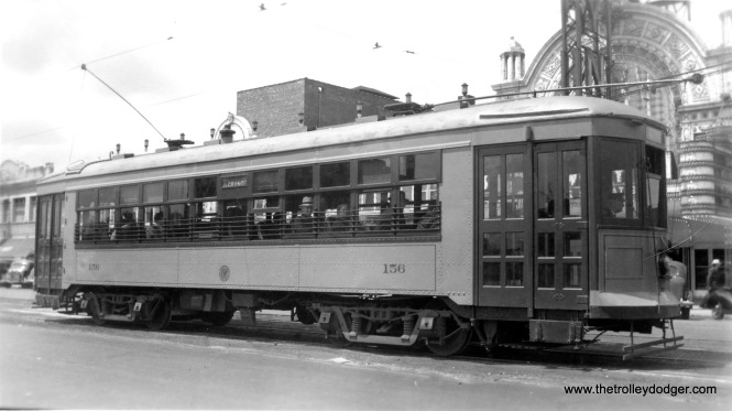 "C&WT 156 is eastbound on Cermak at Ridgeland in front of the old Berwyn Theatre, which opened in 1924. It was damaged by fire in 1990 and demolished. This picture was probably taken not long after the theatre was modernized in 1936. Don's Rail Photos: ""156 was built by Cummings Car Co in 1927. It was rebuilt in 1942 and scrapped in 1948."" (Edward Frank, Jr. Photo)"