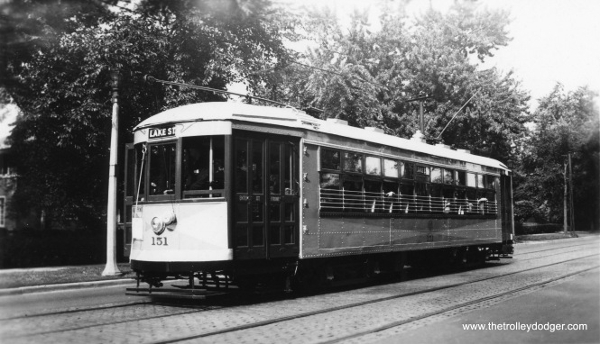 "C&WT 151 on the Lake Street line. Don's Rail Photos: ""151 was built by McGuire and Cummings in 1924. It was scrapped in 1947."" (Edward Frank, Jr. Photo)"