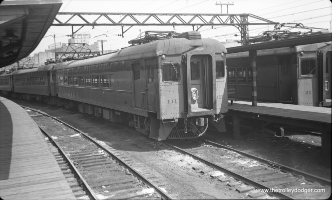 CSS&SB 111 at Randolph Street Terminal in downtown Chicago in May 1953. This station has since been rebuilt and is now underneath Millennium Park.