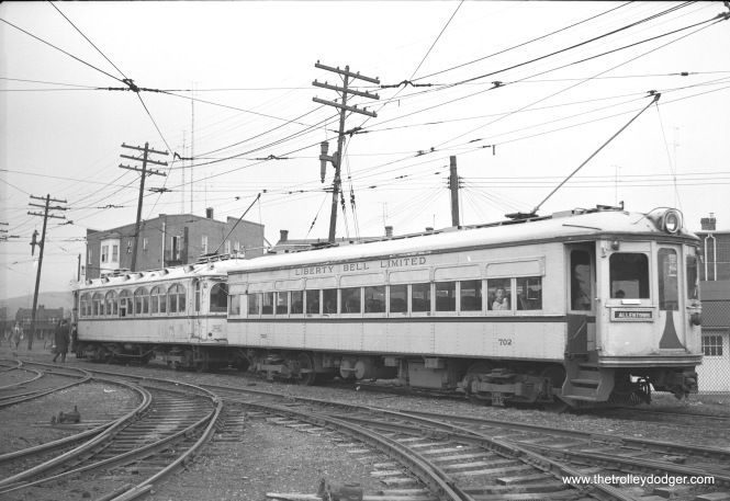 "Lehigh Valley Transit 702 and 812 on a fantrip. Don's Rail Photos: ""702 was built by Southern Car Co in 1916. It was rebuilt on August 8, 1931 and scrapped on January 8, 1952. 812 was built by St Louis Car in 1901 as 159. It was rebuilt as 999 in 1914 and rebuilt as 812 in 1921. It was scrapped in November 1951."""
