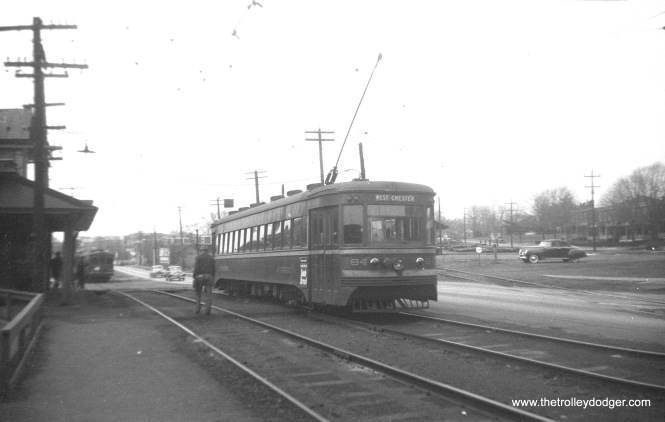 "Philadelphia Suburban Transportation car 84, a 1932 Brill ""Master Unit,"" on the West Chester line. This long line was mainly single-track with occasional passing siidngs such as this one."