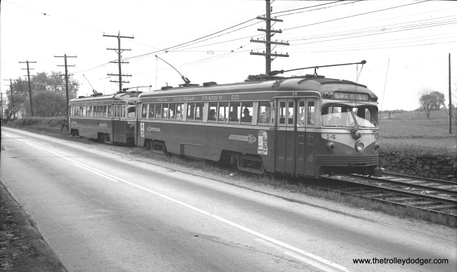 Philadelphia Suburban double-end cars 14 and 18 on West Chester Pike, April 25, 1954. Buses replaced trolley cars in June so that West Chester Pike could be widened.