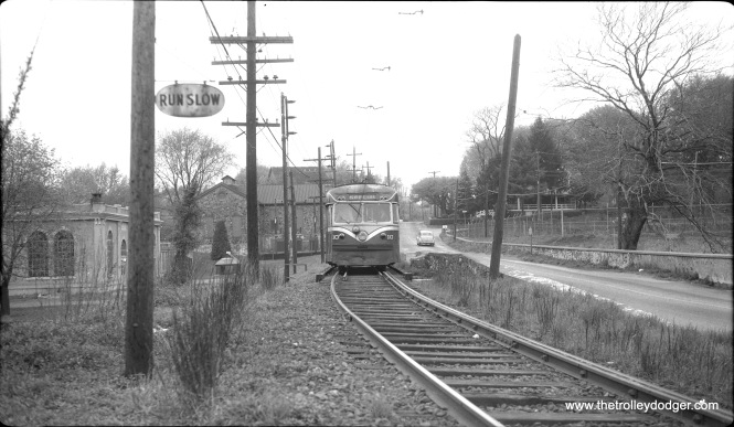 Brilliner 10 is on side-of-the-road trackage on the Philadelphia Suburban's West Chester line, which was bustituted in 1954.