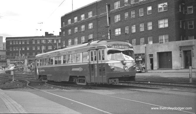 Philadelphia Suburban Transportation Co. double-ended car 12 at 69th Street and Garrett Road on April 14, 1951. It is outbound on the Ardmore line.