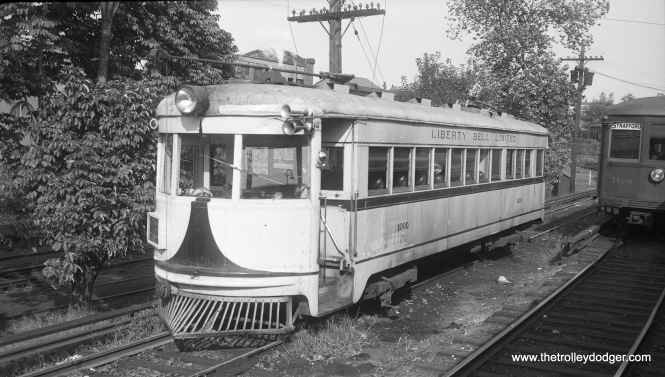 Lehigh Valley Transit high-speed, lightweight interurban car 1000 at the 69th Street Terminal in 1947. This car, formerly Cincinnati & Lake Erie 125, was sold to LVT in 1938 for use on the Liberty Bell Limited line between Philadelphia and Allentown, and was scrapped in 1952. (Cliff Scholes Photo)