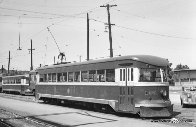 "The double-end Bullet cars on the Philadelphia & Western were not the only Bullets. There were also some single-ended cars such as Bamberger 125, shown here in Ogden, Utah. Don's Rail Photos: ""125 was built by Brill in 1932, #22961, as Fonda Johnstown & Gloversville 125. It was sold as Bamberger 125 in 1939 and retired in 1952. The body was sold to Utah Pickle Co."""