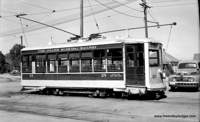 "Fort Collins Municipal Railway Birney car 25 in October 1950. Don's Rail Photos: ""2nd 25 was built by Brill Car Co in December 1922, #21530, as VR&P 1520. It was sold as FCM 25 in 1946. It was sold to James Stitzel in 1953 and resided next to the former Midland Terminal depot in Victor, CO, until it was sold to a South Carolina party about 1980. It was cosmetically restored. In 1998 it was sold to the Charlotte Trolley painted as South Carolina Public Service Co 407. It was sold to Fort Colins Municipal in 2008 and is being restored as 25."" (Robert C. Gray Photo)"