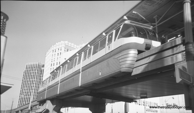 A view of the Seattle monorail at its downtown terminal in 1975. The monorail was built to serve the 1962 Seattle World's Fair. (Walter Broschart Photo)