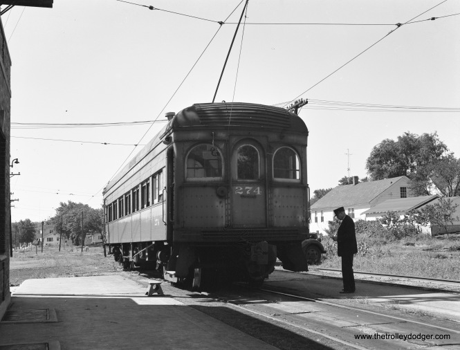 "Illinois Terminal 274 in Decatur at 9:25 a.m. on August 10, 1954. This interurban combine car was built by the St. Louis Car Company in 1913. This was westbound train #61. This picture was taken using Kodak Super-XX film (4"" x 5"" size). (John A. Rehor Photo)"