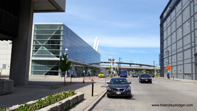 At left, the Milwaukee Intermodal Station.