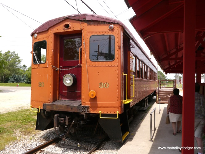 Chicago, South Shore & South Bend car 30 was built in 1926 by Pullman, and retired in the early 1980s. It, and several of its sister cars, are an important part of East Troy's fleet.