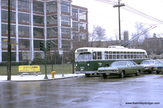 Pulaski Road at Diversey, with the old Marshall Fields man-made waterfall in the background, December 3, 1972.