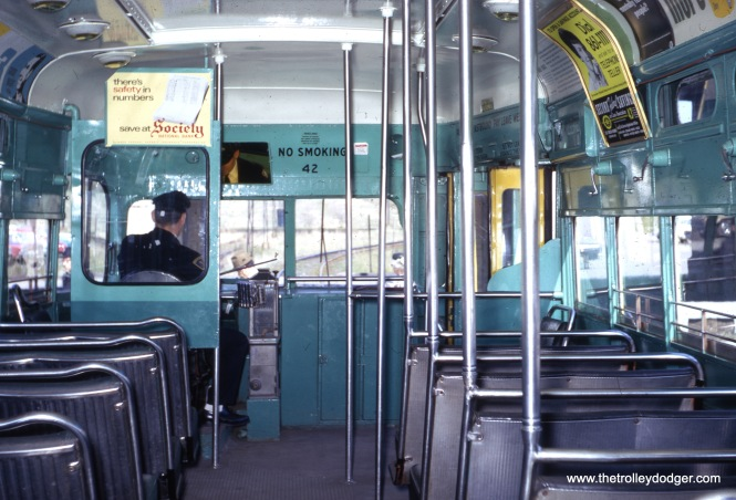 "Interior shots from long ago are fairly rare. This one shows Shaker Heights Rapid Transit PCC 42 in May 1967. Don's Rail Photos says, ""42 was built by St. Louis Car in 1946, #1655, as SLPS 1767. It was sold as SHRT 42 in 1959 and converted to MU operation after purchase."""