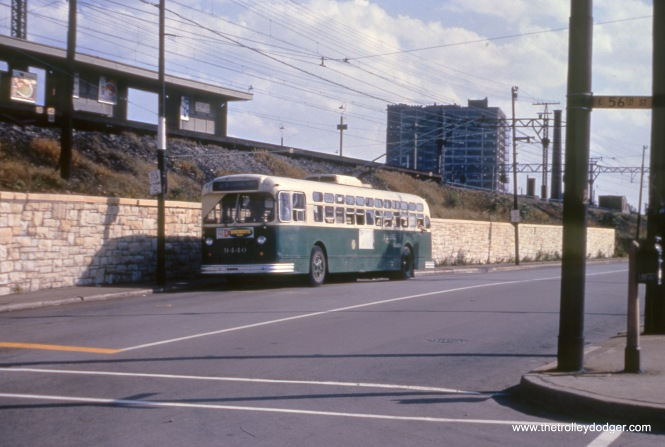 CTA trolley bus 9440, northbound on Lake Park at 56th, in October 1958. Trolley bus service ended on the 51st-55th route on June 21, 1959, exactly one year after the last Chicago streetcar ran. This was the beginning of a 14-year phase out of electric bus service.