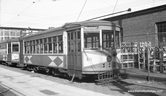 "Hagerstown & Frederick car 48 on June 24, 1939. Don's Rail Photos: ""48 was built by Brill in 1926. It came from the CG&W (Chambersburg Greencastle & Waynesboro Street Ry.), since they were owned by Potomac Edison, too. It was retired in 1949 and disposition is unknown."" (Al Seibel Photo)"
