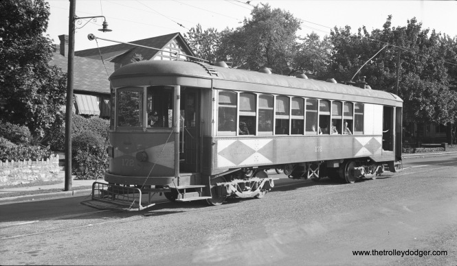 "Hagerstown & Frederick combine 172 on September 24, 1939. Don's Rail Photos: ""172 was built by Brill in 1921. It was retired in 1954. The disposition is unknown."" (Al Seibel Photo)"