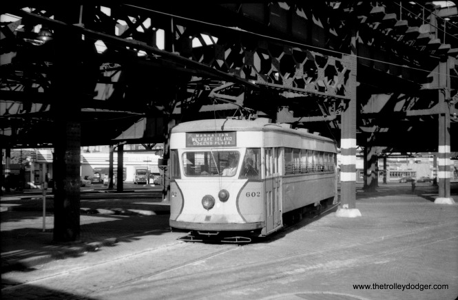 "The Queensboro Bridge trolley, which last ran on April 7, 1957, making it New York City's final (to date) streetcar. Our new audio collection has a ""mystery track"" on it that may or may not be the Queensboro Bridge trolley. You be the judge. It takes a serious railfan to distinguish an Osgood Bradley Electromobile, as we see here, from the very similar Brill Master Unit. Parts from sister car 601 are now being used to help the Electric City Trolley Museum Association restore Scranton Transit car 505."