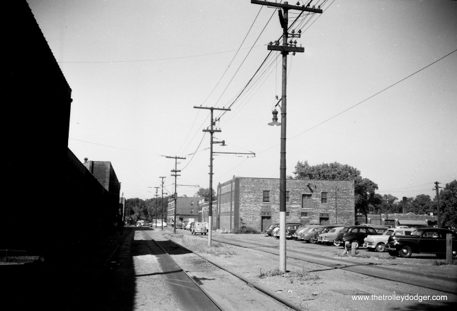 A view of the north side of CTA's South Shops on September 10, 1952. In a previous post, we ran a picture of car 4001 taken on this trackage. That picture was taken in the 1930s, and by 1952 it appears one track had been taken out of service.