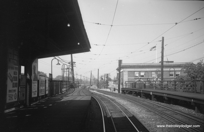 This picture was taken on September 9, 1952, looking north from the Main Street station on CTA's Evanston branch.