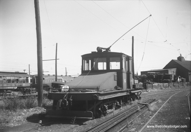 A CTA freight loco, possibly L-201, at South Shops on September 10, 1952.