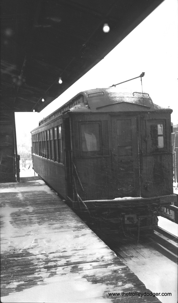 A CTA wood car at 42nd Place, end of the Kenwood branch, during the 1950s. (Walter Broschart Photo)