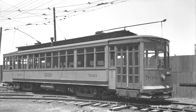 "North Shore Line city streetcar 509 in August 1941. Don's Rail Photos says, ""509 was built by St Louis Car in 1909. It was rebuilt to one man and transferred to Waukegan on November 3, 1922. It was used as a waiting room at 10th Street, North Chicago, for a short time in 1947, until a new station could be built at the truncated north end of the Shore Line Route. It was sold for scrap in 1949."""