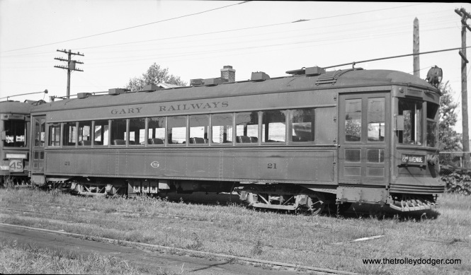 Gary Railways 21 in 1938, signed for 22nd Avenue. It was built by Cummings in 1927.