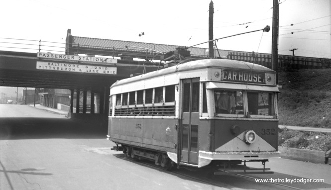 Here, we see New Castle Electric Street Railway 352 in Grant Street at the Erie/B&O/P&LE station in New Castle, PA on August 24, 1941. This was a Birney car, a 1919 National product that, to these eyes, reminds me of the Osgood-Bradley Electromobiles of ten years later. All streetcar service in this area was discontinued on December 11, 1941. (W. Lupher Hay Photo)