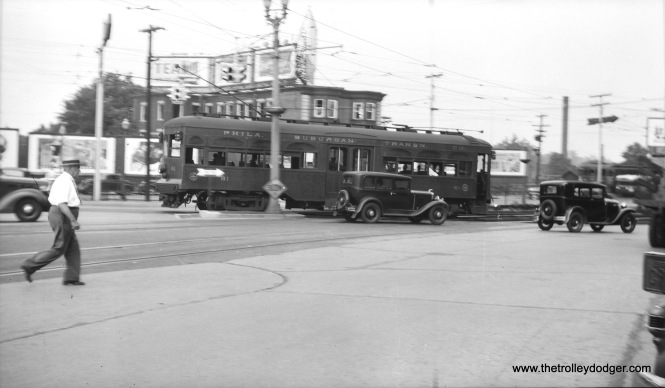 Here, Red Arrow 61 approaches the 69th Street Terminal in Upper Darby, sometime in the 1930s. Car 61 was a Brill product from about 1927. Note the man wearing a straw hat, which is something people used to do on hot days.