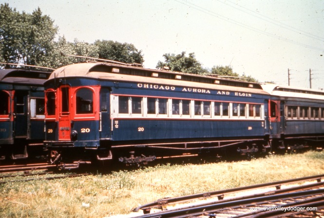 CA&E 20 at Wheaton Yard. This car is now at the Fox River Trolley Museum in South Elgin. (Stephen P. Hyett Photo)