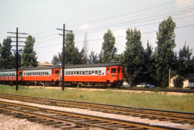 CA&E 459 and 452 are part of an eastbound train somewhere in either Oak Park or Forest Park, where the B&OCT ran parallel to the interurban.