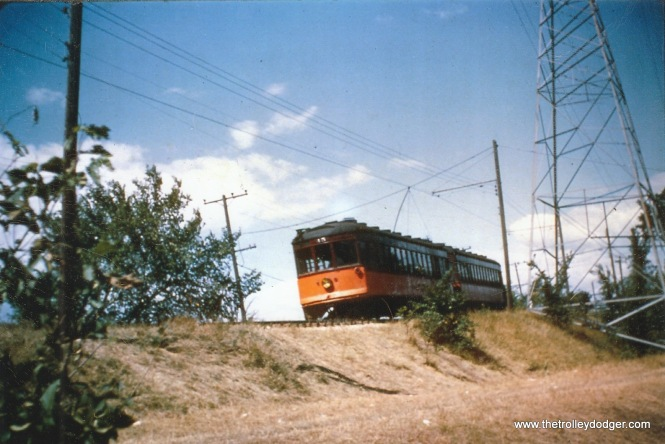This is the wreck site. It was between W. Arthur and W. Cleveland Aves. parallel to S. 100th St. Shrubs, a hill and a curve made it impossible for opposing trains to see each other in time to stop. This is lightweight duplex 45-46. I don't know who took the picture or if this was before or after 9/2/50.
