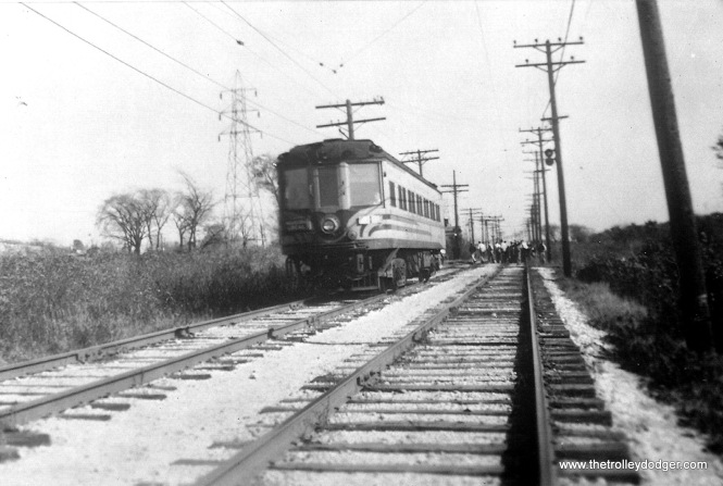 #3 - Speedrail 1142 arr. @ Wauk. Gravel pit poss. 2-29-52. C. N. Barney collection.